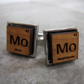 Wooden periodic table element cufflinks