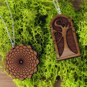 Laser engraved wooden necklaces