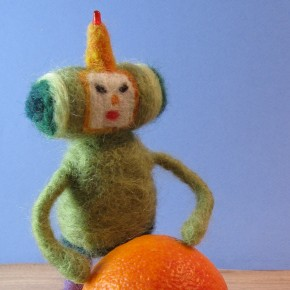 Needle felted Prince of All Cosmos with LED antenna