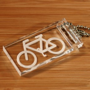 Laser engraved bike keychain